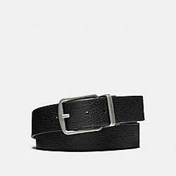 COACH WIDE HARNESS CUT-TO-SIZE REVERSIBLE PEBBLE LEATHER BELT - BLACK/DARK BROWN - F64840