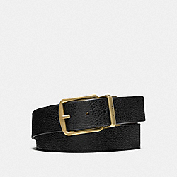 COACH WIDE HARNESS CUT-TO-SIZE REVERSIBLE PEBBLE LEATHER BELT - ANTIQUED BRASS/BLACK/DARK BROWN - F64840