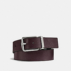 COACH WIDE HARNESS CUT-TO-SIZE REVERSIBLE PEBBLE LEATHER BELT - OXBLOOD/BLACK - F64840