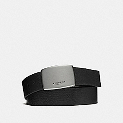 COACH WIDE PLAQUE CUT-TO-SIZE REVERSIBLE PEBBLE LEATHER BELT - BLACK/DARK BROWN - F64842