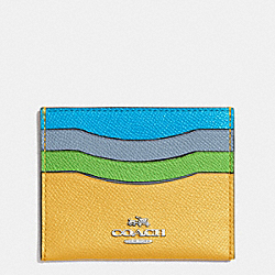 COACH FLAT CARD CASE IN COLORBLOCK LEATHER - SILVER/CANARY MULTI - F64859