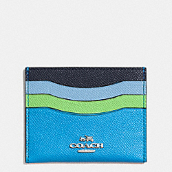 COACH FLAT CARD CASE IN COLORBLOCK LEATHER - SILVER/AZURE MULTI - F64859