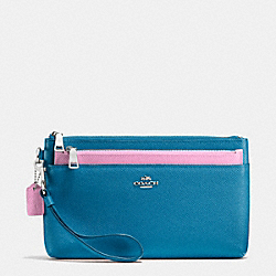 LARGE WRISTLET WITH POP-UP POUCH IN COLORBLOCK LEATHER - SILVER/PEACOCK/MARSHMALLOW - COACH F64862