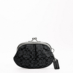 COACH SIGNATURE FRAMED COIN PURSE - SILVER/BLACK GREY/BLACK - F64917