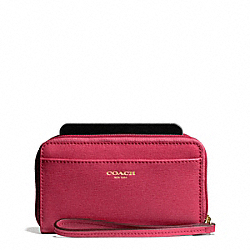 COACH SAFFIANO EAST/WEST UNIVERSAL CASE - BRASS/SCARLET - F64976