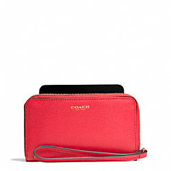 COACH SAFFIANO LEATHER EAST/WEST UNIVERSAL CASE - LIGHT GOLD/LOVE RED - F64976