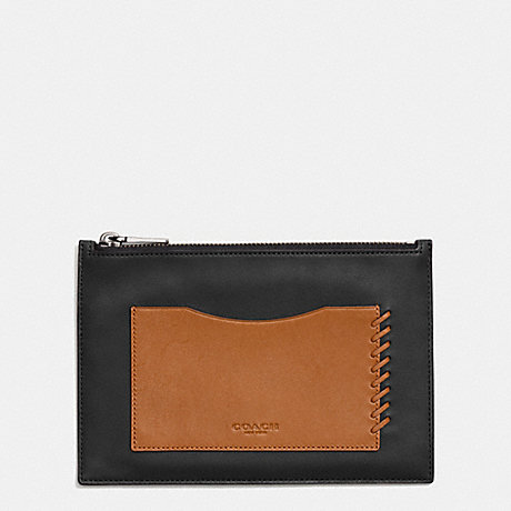 COACH RIP AND REPAIR TECH ENVELOPE CASE IN SPORT CALF LEATHER - BLACK/SADDLE - f65037
