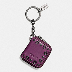 COACH STUDDED PICTURE FRAME KEY RING - BLACK/PLUM - F65046