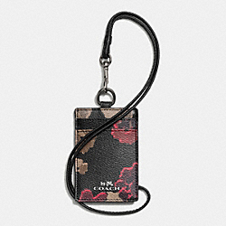 COACH LANYARD ID IN BLACK FLORAL COATED CANVAS - ANTIQUE NICKEL/BLACK - F65063