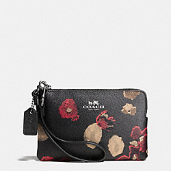 COACH CORNER ZIP IN BLACK FLORAL COATED CANVAS - ANTIQUE NICKEL/BLACK - F65064