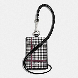 COACH LANYARD ID IN GLEN PLAID COATED CANVAS - SILVER/BLACK - F65065