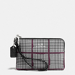 COACH CORNER ZIP IN GLEN PLAID COATED CANVAS - SILVER/BLACK - F65066