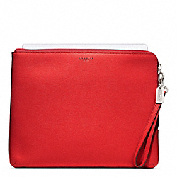 COACH SAFFIANO LEATHER L-ZIP IPAD SLEEVE - SILVER/VERMILLION - F65076
