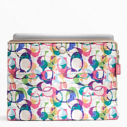 POPPY STAMPED C L-ZIP LAPTOP SLEEVE COACH F65117