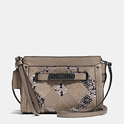 COACH COACH SWAGGER WRISTLET IN PATCHWORK EXOTIC EMBOSSED LEATHER - DARK GUNMETAL/FOG - F65140