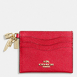 CHINESE NEW YEAR CHARM FLAT CARD CASE IN CROSSGRAIN LEATHER - LIGHT GOLD/TRUE RED - COACH F65146