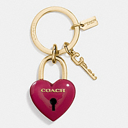 RESIN PADLOCK HEART KEY RING - GOLD/CLASSIC RED - COACH F65162
