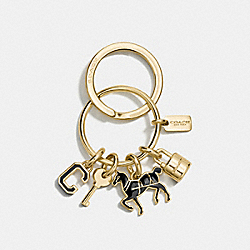 COACH ICONS KEY RING - GOLD/BLACK - COACH F65167