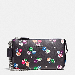 COACH LARGE WRISTLET 19 IN WILDFLOWER PRINT COATED CANVAS - SILVER/RAINBOW MULTI - F65175