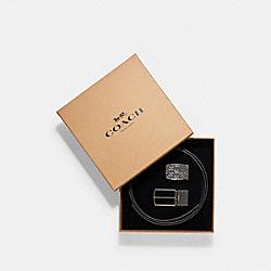COACH SIGNATURE PLAQUE HARNESS CUT-TO-SIZE BELT - BLACK/DARK BROWN - F65186