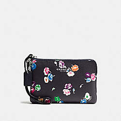 COACH CORNER ZIP WRISTLET IN WILDFLOWER PRINT COATED CANVAS - SILVER/RAINBOW MULTI - F65188