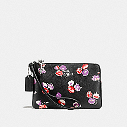 CORNER ZIP WRISTLET IN WILDFLOWER PRINT COATED CANVAS - f65188 - SILVER/BLACK MULTI