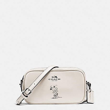COACH COACH X PEANUTS CROSSBODY POUCH IN CALF LEATHER - SILVER/CHALK - f65195