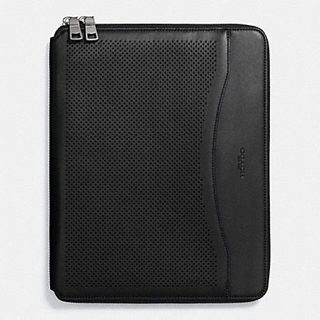 COACH TECH CASE IN PERFORATED LEATHER - BLACK - f65200