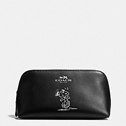 COACH X PEANUTS COSMETIC CASE 17 IN CALF LEATHER - SILVER/BLACK - COACH F65208
