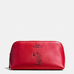 COACH X PEANUTS COSMETIC CASE 17 IN CALF LEATHER - SILVER/CLASSIC RED - COACH F65208