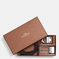 COACH SCULPT C HARNESS CUT-TO-SIZE REVERSIBLE CROSSGRAIN LEATHER BELT - BLACK/DARK BROWN - F65243