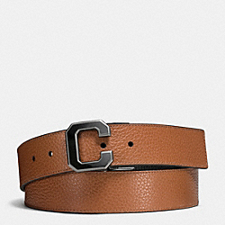 VARSITY C CUT-TO-SIZE REVERSIBLE PEBBLE LEATHER BELT - DARK SADDLE BLACK - COACH F65245
