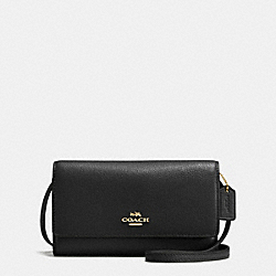 PHONE CROSSBODY IN PEBBLE LEATHER - F65284 - IMITATION GOLD/BLACK