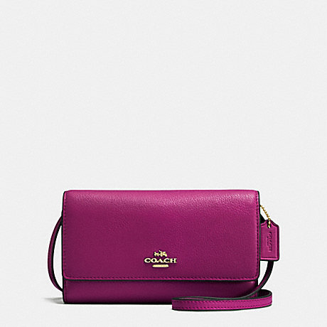 COACH PHONE CROSSBODY IN PEBBLE LEATHER - IMITATION GOLD/FUCHSIA - f65284