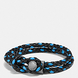 COACH LEATHER BRACELET BUTTON - BLACK/AZURE - F65291