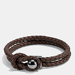 COACH LEATHER BRACELET BUTTON - MAHOGANY - F65291
