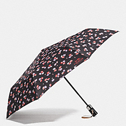 COACH FLORAL PRINT UMBRELLA - SILVER/BLACK MULTI - F65331