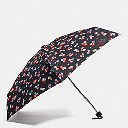 COACH FLORAL PRINT MINI UMBRELLA - SILVER/BLACK MULTI - F65333