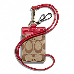 COACH PARK SIGNATURE LANYARD ID CASE - BRASS/KHAKI/RED - F65364