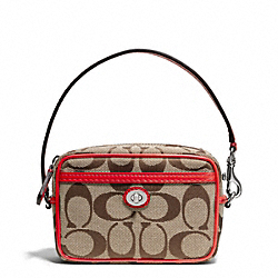 PARK SIGNATURE EAST/WEST MULTI POUCH - SILVER/KHAKI/VERMILLION - COACH F65365