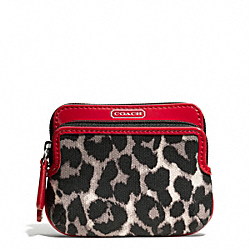 COACH PARK OCELOT PRINT DOUBLE ZIP COIN WALLET - ONE COLOR - F65368