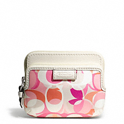 COACH DAISY KALEIDOSCOPE PRINT ZIP COIN WALLET - SILVER/MULTICOLOR - F65376