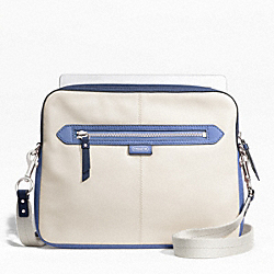 COACH DAISY SPECTATOR LEATHER TABLET CROSSBODY - SILVER/PARCHMENT MULTI - F65377