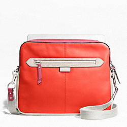 DAISY SPECTATOR LEATHER TABLET CROSSBODY - f65377 - SILVER/VERMILLION MULTICOLOR