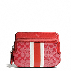 COACH SIGNATURE STRIPE PVC DOUBLE ZIP COIN WALET - ONE COLOR - F65380