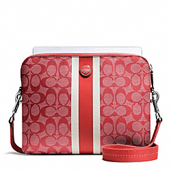 SIGNATURE STRIPE PVC STRIPE TABLET CROSSBODY - f65381 - SILVER/VERMILLION/VERMILLION