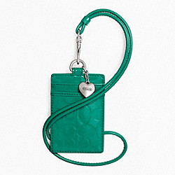 COACH EMBOSSED LIQUID GLOSS LANYARD ID CASE - SILVER/BRIGHT JADE - F65383
