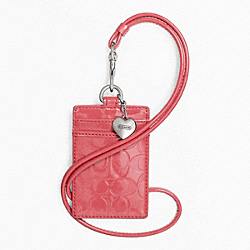 COACH EMBOSSED LIQUID GLOSS LANYARD ID CASE - SILVER/CORAL - F65383