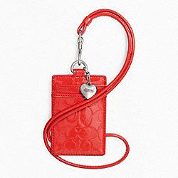 COACH EMBOSSED LIQUID GLOSS LANYARD ID CASE - SILVER/VERMILLION - F65383