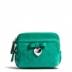 COACH EMBOSSED LIQUID GLOSS DOUBLE ZIP COIN WALLET - SILVER/BRIGHT JADE - F65384